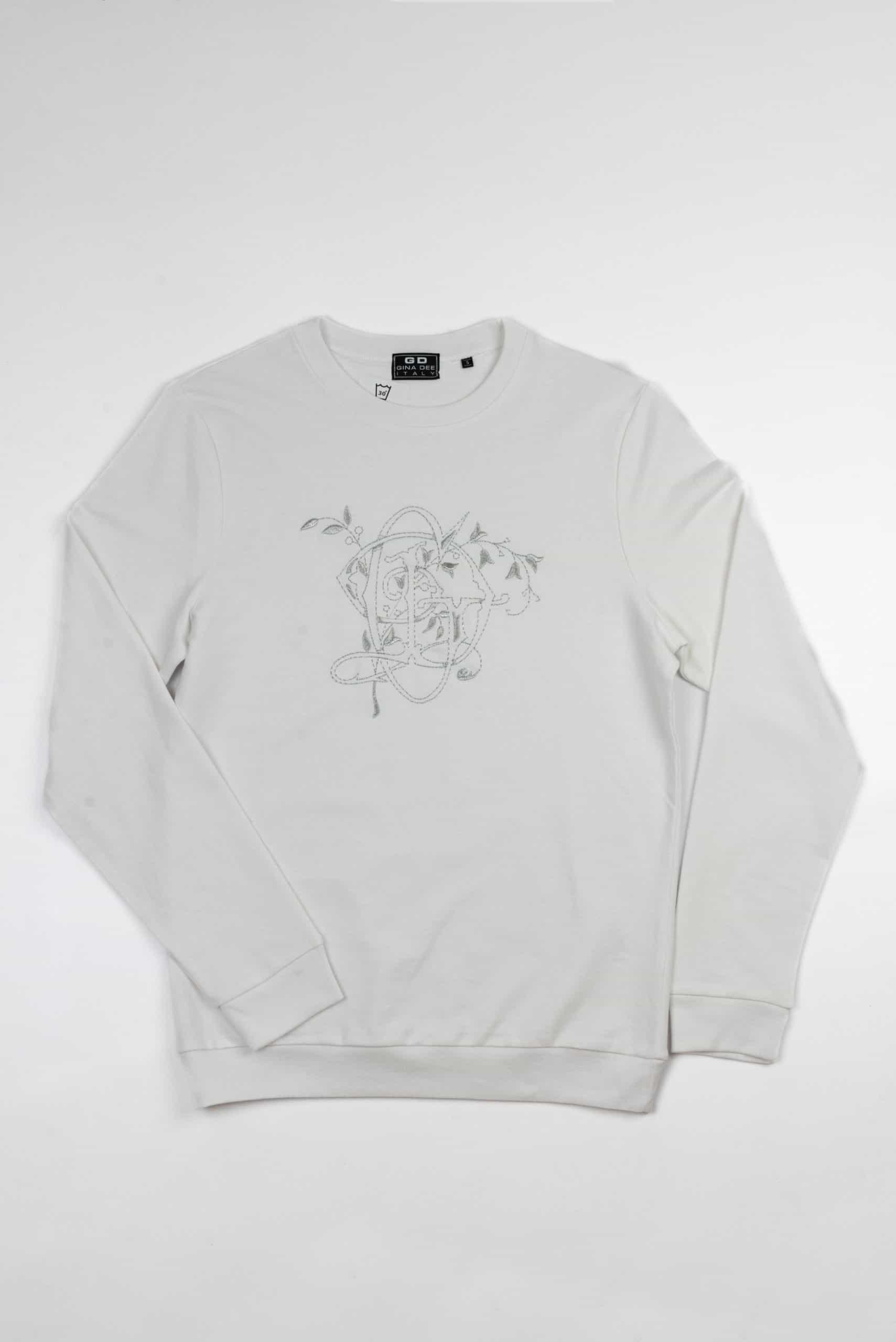 Sweatshirt Gothic Giro Collo White Silver